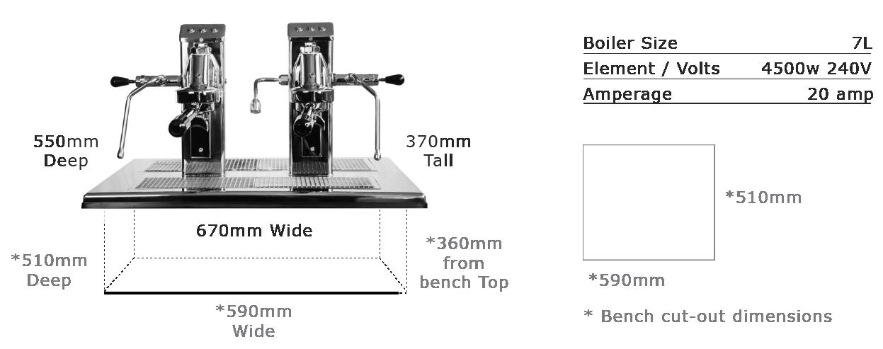 Commercial Espresso Coffee Machine espressoDECK 2 group head specs