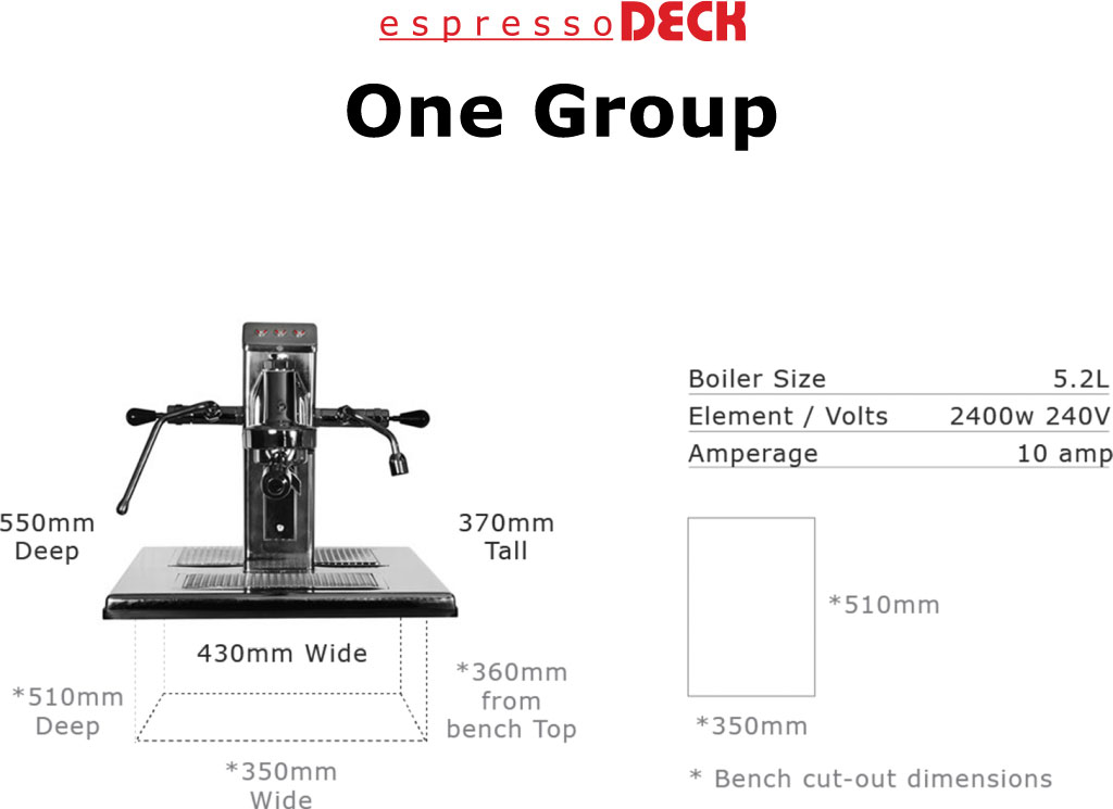 1 group head espressoDECK coffee machine specifications home
