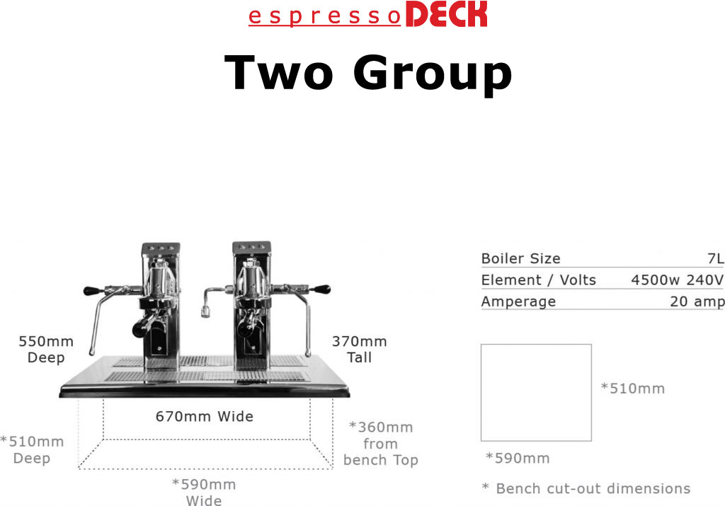 2 group head espressoDECK coffee machine specifications home